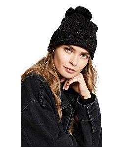 Adrienne Landau | Knit Hat With Fur Pom Pom