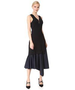 Derek Lam 10 Crosby | Трикотажное Платье С V-Образным Вырезом И Низом Из Ткани В Рубчик