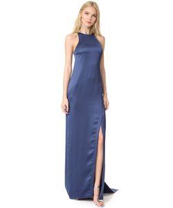 Halston Heritage | Атласное Вечернее Платье С Драпировкой На Спине И Высокой Горловиной