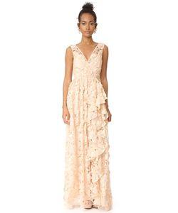 Badgley Mischka | Вечернее Платье Из Органзы С V-Образной Горловиной Оборками И Вырезами