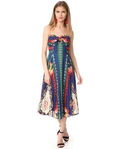 Anna Sui | Плиссированное Платье Без Бретелек С Принтом В Виде Пейзажа Нью-Йорка