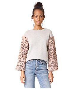 Clu | Too Faux Fur Sleeve Sweatshirt