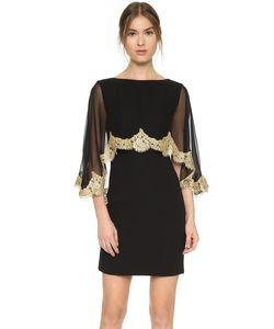Reem Acra | Платье С Накидкой С Кружевом По Краям