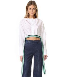 Diane Von Furstenberg | Укороченная Блуза С Завязками Сбоку И Длинными Рукавами