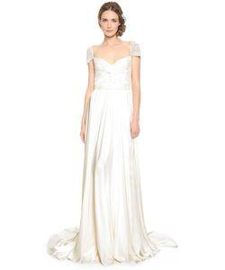 Reem Acra | Вечернее Платье С Перекрученным Передом И Рукавами С Драгоценными Камнями