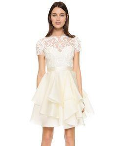 Marchesa | Коктейльное Кружевное Платье С Вышивкой