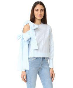 MSGM | Блуза В Крепированную Полоску С Открытым Плечом И Завязками