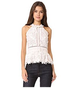 Marchesa Notte | Guipure Sleeveless Cocktail Blouse
