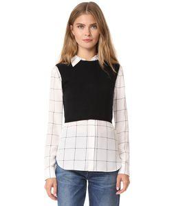 Alice + Olivia | Комбинированная Рубашка Lucinda С Трикотажным Жилетом