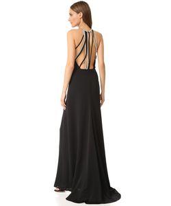 Halston Heritage | Вечернее Платье С Высоким Вырезом И Несколькими Цепочками На Спине