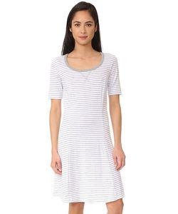 Three Dots | Платье В Полоску С Короткими Рукавами