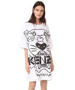 Kenzo | Атласное Платье Tiger Со Вставкой Из Крепа На Спине