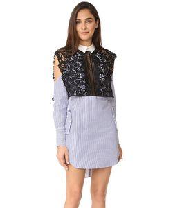 SELF-PORTRAIT | Платье Из Рубашечной Ткани В Полоску С Накидкой