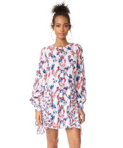 TANYA TAYLOR | Шелковое Платье Faretta С Полосками И Цветочным Узором В Технике Икат
