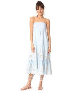 Athena Procopiou | Голубое Платье Без Бретелек Gypset С Бантом