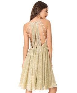 Halston Heritage | Металлизированное Платье С Бретельками На Спине