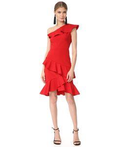Marchesa Notte | Коктейльное Платье С Открытым Плечом И Оборками
