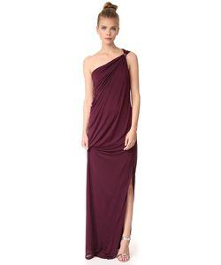 Halston Heritage | Драпированное Вечернее Платье На Одно Плечо Из Джерси С Разрезом