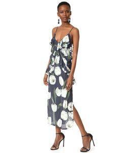 MLM LABEL   Миди-Платье В Стиле Комбинации С Оборками