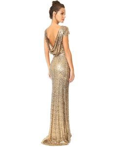 Badgley Mischka | Вечернее Платье С Блестками И Хомутом Сзади