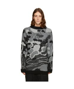 11 BY BORIS BIDJAN SABERI | And Grey Jacquard Sweater