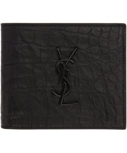 Saint Laurent | Croc-Embossed Monogram East-West Wallet