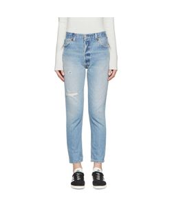 RE-DONE | Distressed High Rise Ankle Crop Jeans