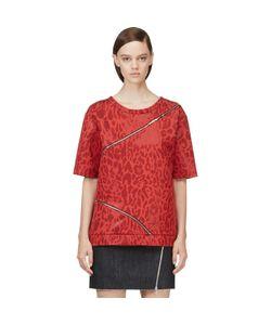 Jay Ahr | Jacquard Leopard Zip-Trimmed T-Shirt