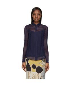 Burberry Prorsum   Navy Sheer Striped Silk Chiffon Shirt