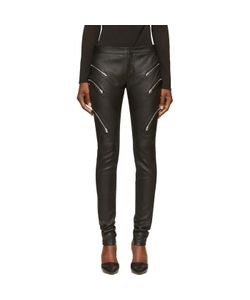 Jay Ahr | Grained Leather Zipped Trousers