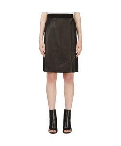 Calvin Klein Collection | Leather Panel Nousha Wrap Skirt