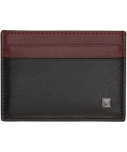 Valentino | And Burgundy Single Rockstud Card Holder