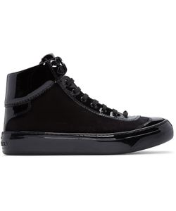 Jimmy Choo | Velvet And Leather Argyle High-Top Sneakers