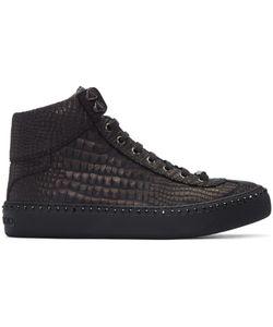 Jimmy Choo   Croc-Embossed Argyle High-Top Sneakers