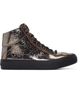 Jimmy Choo   Star-Embossed Argyle High-Top Sneakers