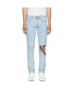 OFF-WHITE   Diagonal Raw Cut Slim Jeans