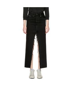 UNRAVEL   Long Distressed Denim Skirt