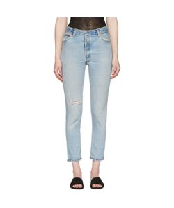 RE-DONE | High-Rise Ankle Crop Destruction Jeans