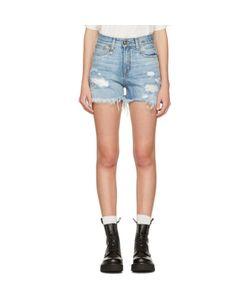 R13   Denim Shredded Slouch Shorts