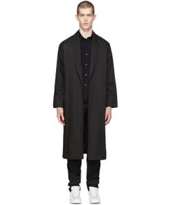 Undecorated Man | Black Twill Piped Coat