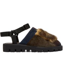 Kolor | And Navy Furry Slippers