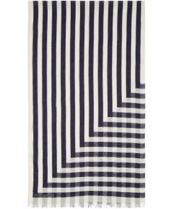 Undecorated Man | Ivory And Navy Linen Striped Scarf