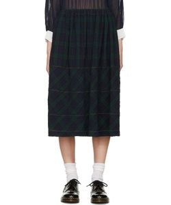 Tricot Comme des Garçons | Navy And Green Tartan Check Skirt