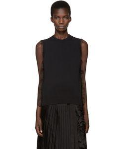 Noir Kei Ninomiya | Black Organza Trim Sweater