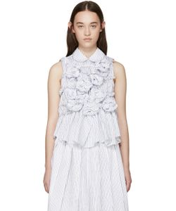 Tricot Comme des Garçons | White And Blue Gathered Top