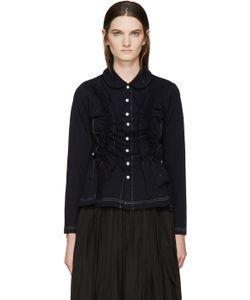Tricot Comme des Garçons   Navy Jersey Ruffled Shirt