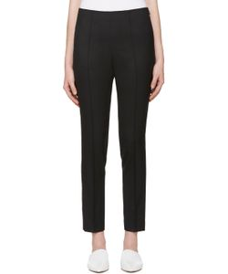 Hyke | Black Slim Wool Trousers