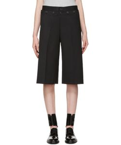 Hyke | Black Wool Wide-Leg Shorts