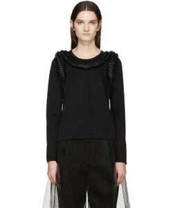 Noir Kei Ninomiya | Black Long Sleeve Frilled Bows T-Shirt