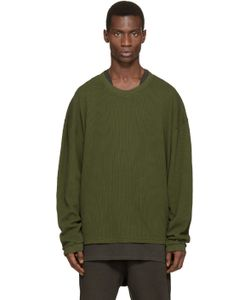 YEEZY SEASON 1   Green Waffle Cotton Thermal T-Shirt